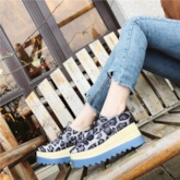 Lace-Up Round Toe Leopard Plarform Women's Sneakers