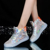 Lace-Up High Top Round Toe Hollow Sneakers