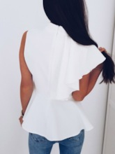 Plain Patchwork Sleeveless Women's Blouse