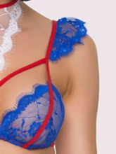Color Block Three-Point Lace-Up Sexy Bra Set