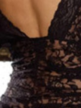 Women's Deep-V Floral Lace Short Sleeve Sexy Chemise with Thong
