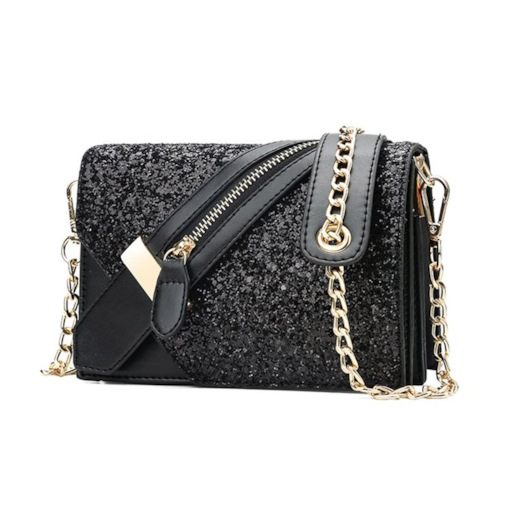 Plain Sequins PU Rectangle Crossbody Bags