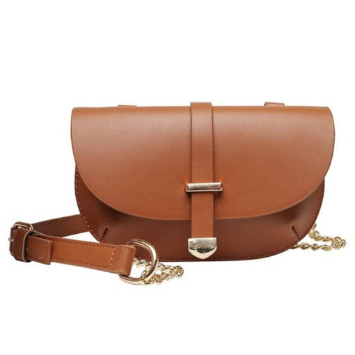 PU Plain Chain Saddle Crossbody Bags