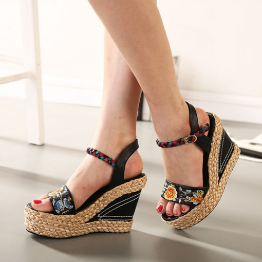 Wedge Heel Open Toe Ankle Strap Buckle Casual Sandals