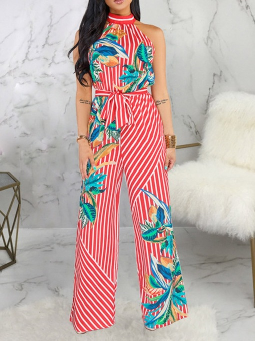 Full Length Office Lady Belt Plant Slim Women's Jumpsuit