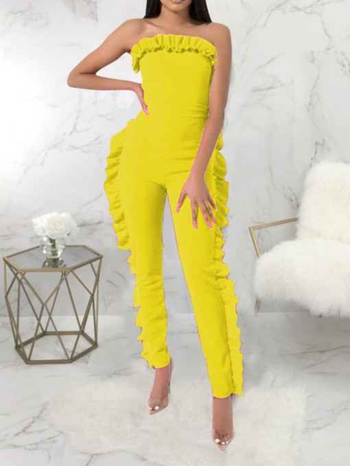 Plain Bowknot Full Length Office Lady Skinny Women's Jumpsuit