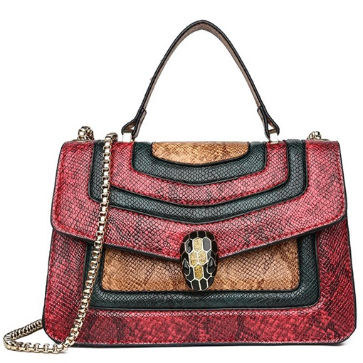 Serpentine PU Color Block Rectangle Tote Bags