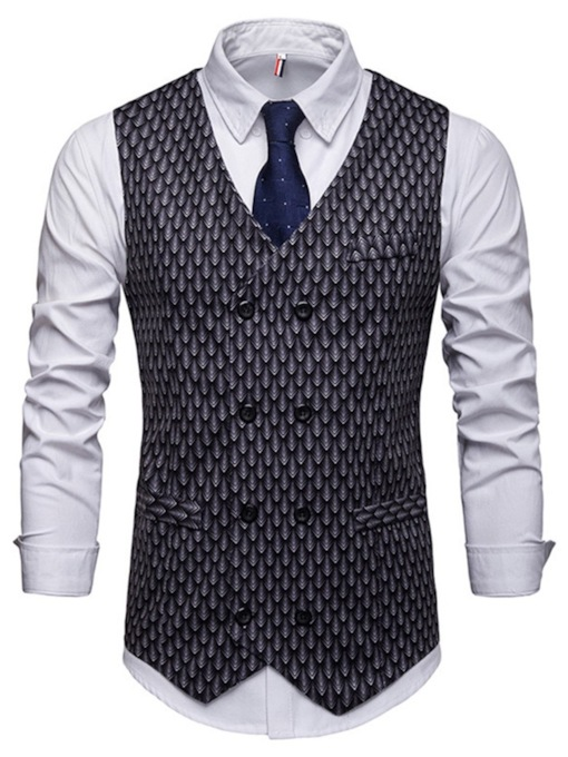 Plain Plaid printed shirt V-Neck Pocket Fashion Formal Bussiness Men's Waistcoat