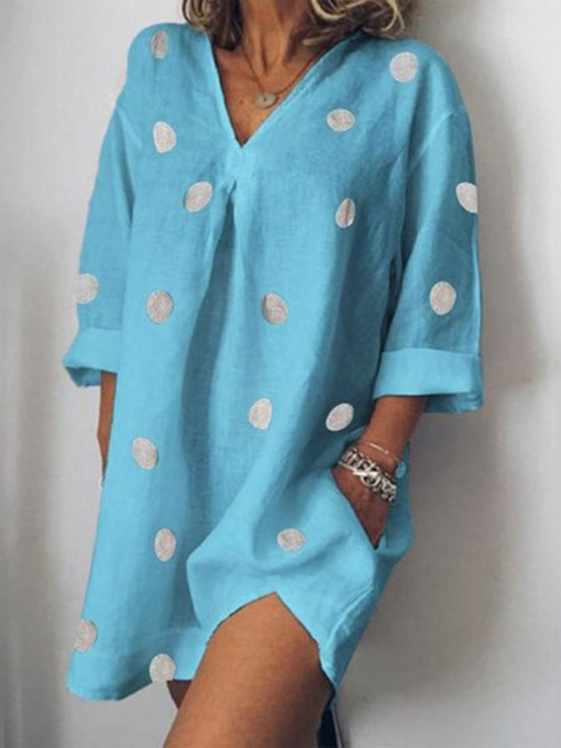 Long Sleeve V-Neck Split Regular Polka Dots Women's Day Dress