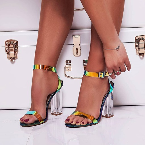 Metallic Buckle Open Toe Ankle Strap Chunky Heel Sandals