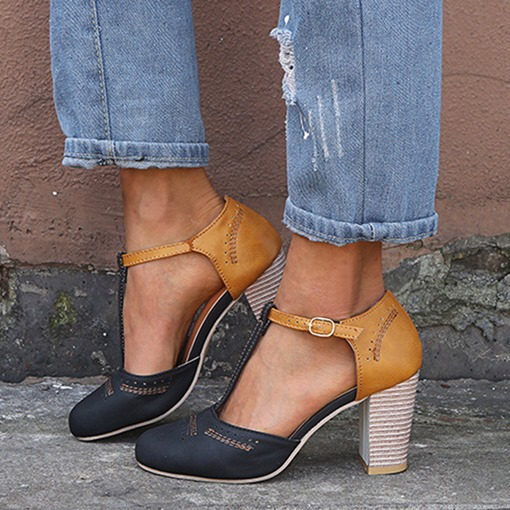 Round Toe Chunky Heel Buckle Color Block Women's Shoes