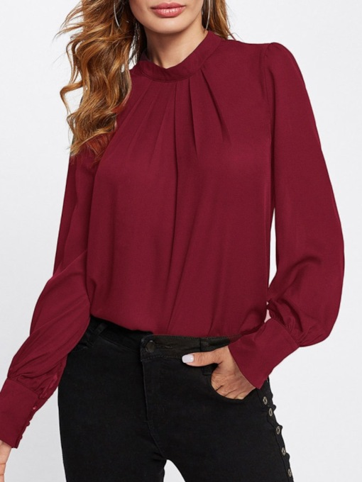 Loose Plain Princess Sleeve Chiffon Women's Blouse