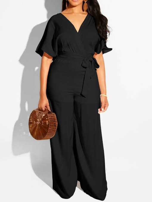Western Belt Full Length Plain Wide Legs Women's Jumpsuit
