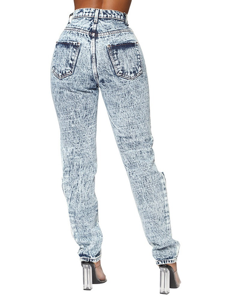 Worn Pencil Pants Plain Zipper Women's Jeans
