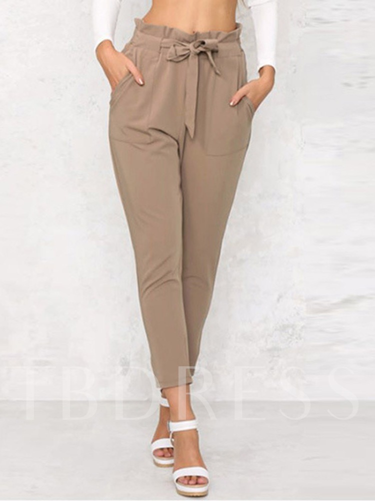 Plain Slim Bowknot High Waist Women's Casual Pants