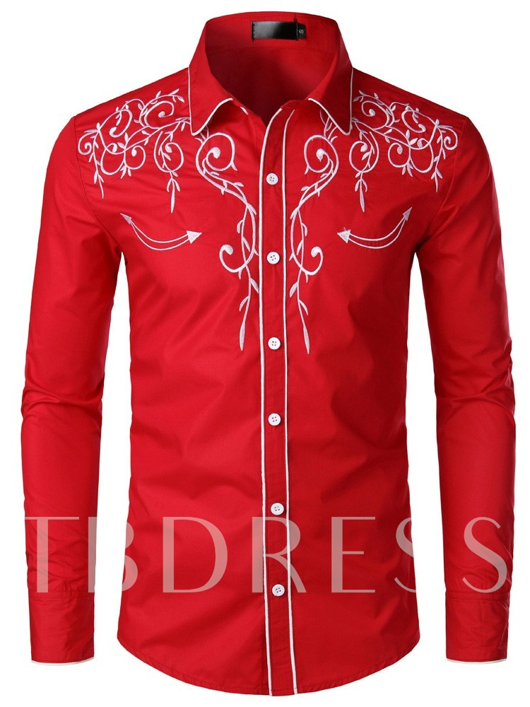 Black/Red/White/Dark Blue Color Block Lapel Casual Embroidery Single-Breasted Men's Shirt