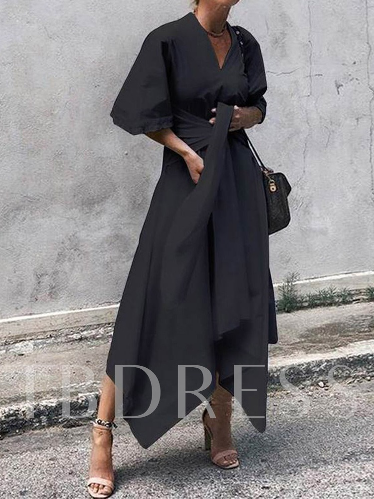 V-Neck Lace-Up Half Sleeve Pullover Women's Maxi Dress