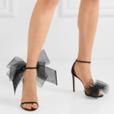 Heel Covering Buckle Round Toe Stiletto Heel Bow Prom Sandals