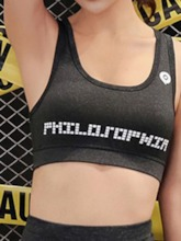 Women's Plus Size Non-Adjusted Straps Letter Shockproof Sports Bra