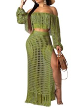 See-Through Western T-Shirt Plain Off Shoulder Women's Two Piece Sets