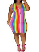 Plus Size Sleeveless V-Neck Zipper Mid Waist Women's Bodycon Dress