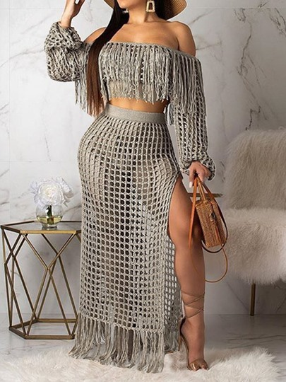 See-Through Western T-Shirt Plain Off Shoulder Womens Two Piece Sets See-Through Western T-Shirt Plain Off Shoulder Women's Two Piece Sets