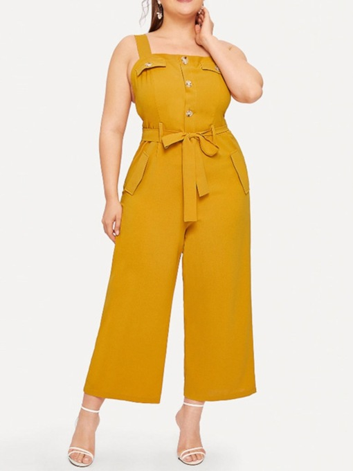 Plus Size Plain Mid-Calf Slim Women's Jumpsuit