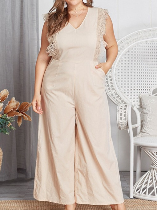 Ankle Length Plain Patchwork Western Wide Legs Women's Jumpsuit