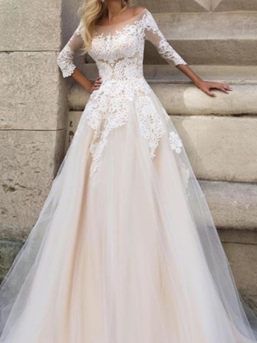 Appliques 3/4 Length Sleeves Hall Wedding Dress 2019