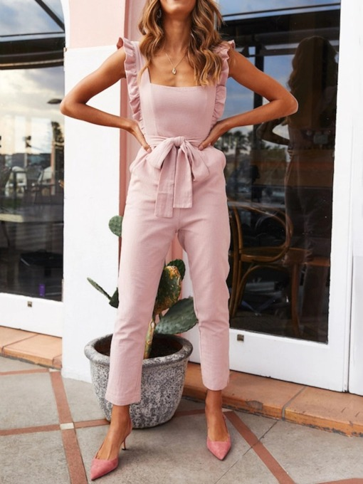 Western Bowknot Plain Mid-Calf Straight Women's Jumpsuit