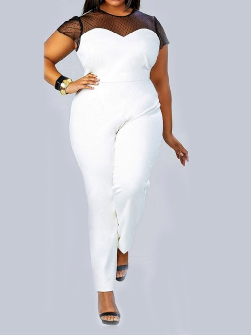 Plus Size Plain Patchwork Full Length Straight Women's Jumpsuit