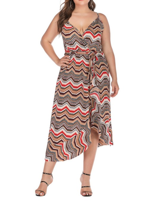 Plus Size V-Neck Backless Sleeveless Asymmetrical Women's Maxi Dress