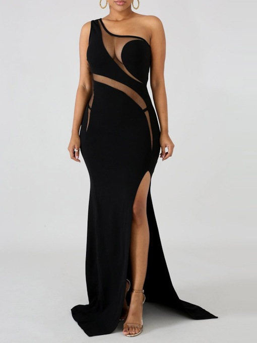 Oblique Collar Mesh Floor-Length Sleeveless Sexy Women's Maxi Dress