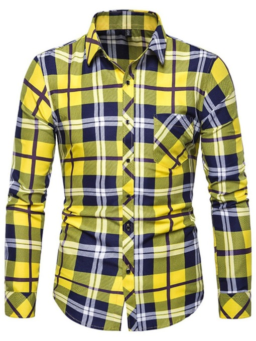 Casual Red/Yellow/Khaki Color Block Fashion Plaid Pocket Lapel Slim Fit Men's Shirt