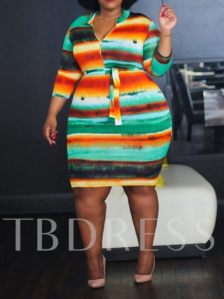 Plus Size Print Stand Collar Three-Quarter Sleeve Women's Bodycon Dress