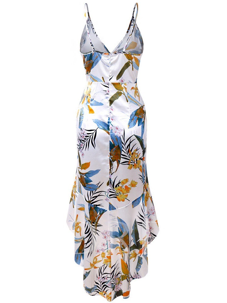 Print Sleeveless V-Neck Spaghetti Strap Women's Party Dress