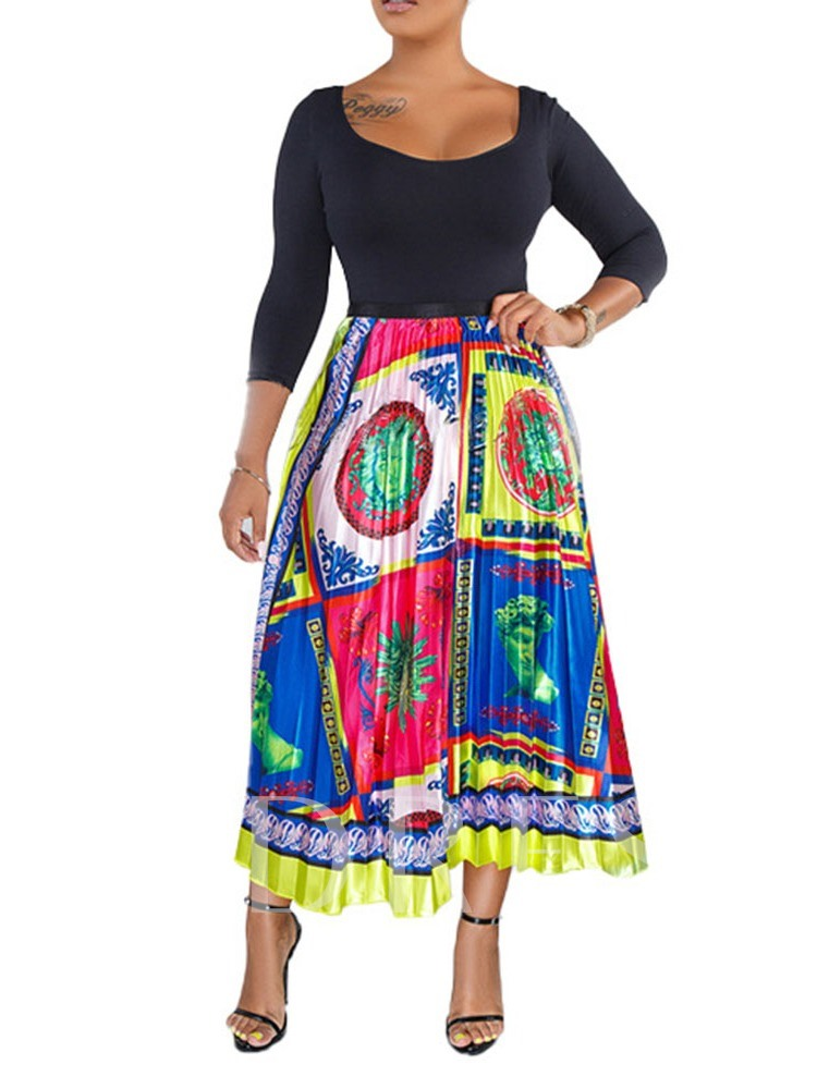 Pleated Floral Print Ankle-Length Western Women's Skirt