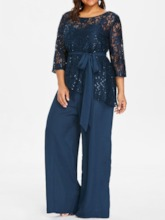 Plus Size Plain Full Length Western See-Through Loose Women's Jumpsuit