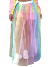 See-Through A-Line Floor-Length Color Block Western Women's Skirt
