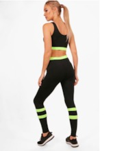 Color Block Stripe Sleeveless Women's Workout Set