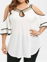 Plus Size Sequins Ruffle Sleeve Mid-Length Women's Blouse