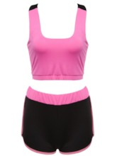 Color Block Shorts Women's Yoga Set