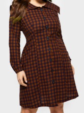 Plus Size Long Sleeve Button Single-Breasted Women's Long Sleeve Dress