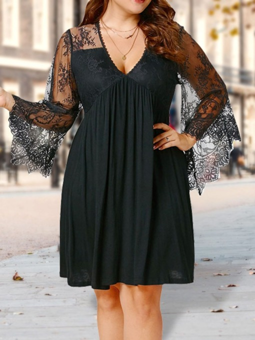 Plus Size Pleated V-Neck Long Sleeve Pullover Women's Lace Dress