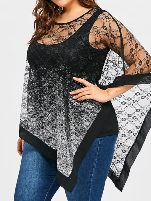 See-Through Batwing Sleeve Round Neck Plus Size Women's Blouse