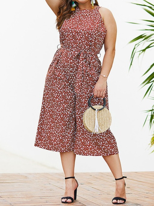 Polka Dots Western Mid-Calf Print Loose Women's Jumpsuit