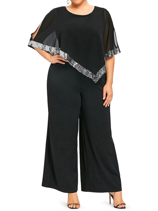 Plus Size Color Block Full Length Office Lady Loose Women's Jumpsuit