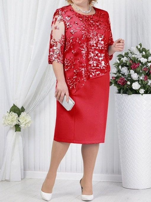 Plus Size Embroidery Round Neck Half Sleeve Floral Women's Day Dress
