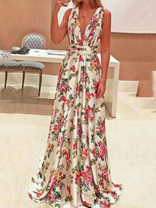 Plus Size Sleeveless Print Floor-Length V-Neck Floral Women's Maxi Dress