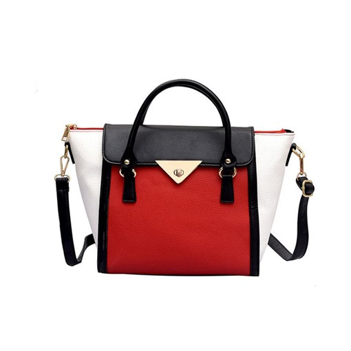 PU Color Block Tote Bags